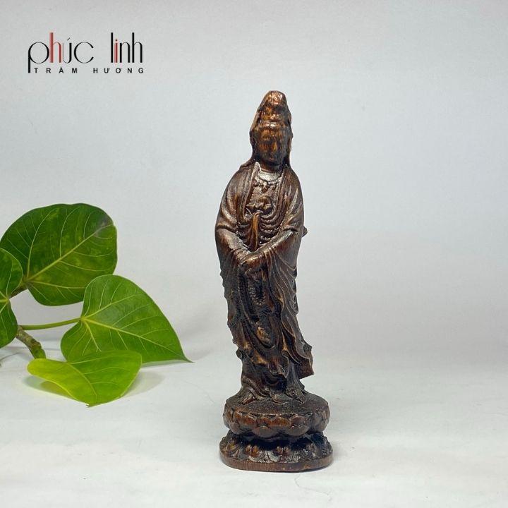 Tượng Phật Quan Âm Để Xe ô tô Gỗ Trầm Hương