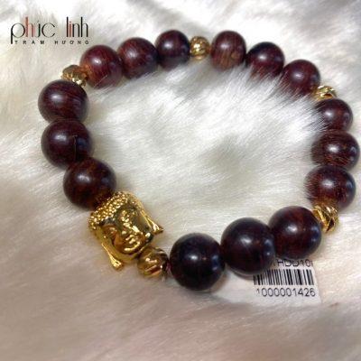 Vòng Tay Gỗ Sưa 10ly Mix Charm Phật Vàng Kim Mã