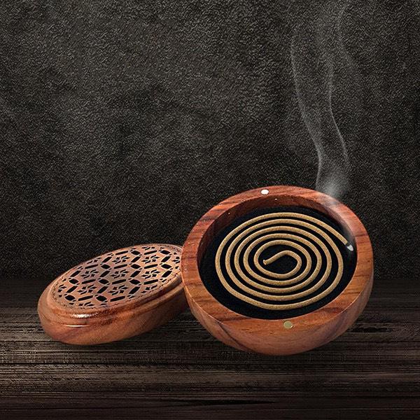 lư xông gỗ tròn nguyên khối